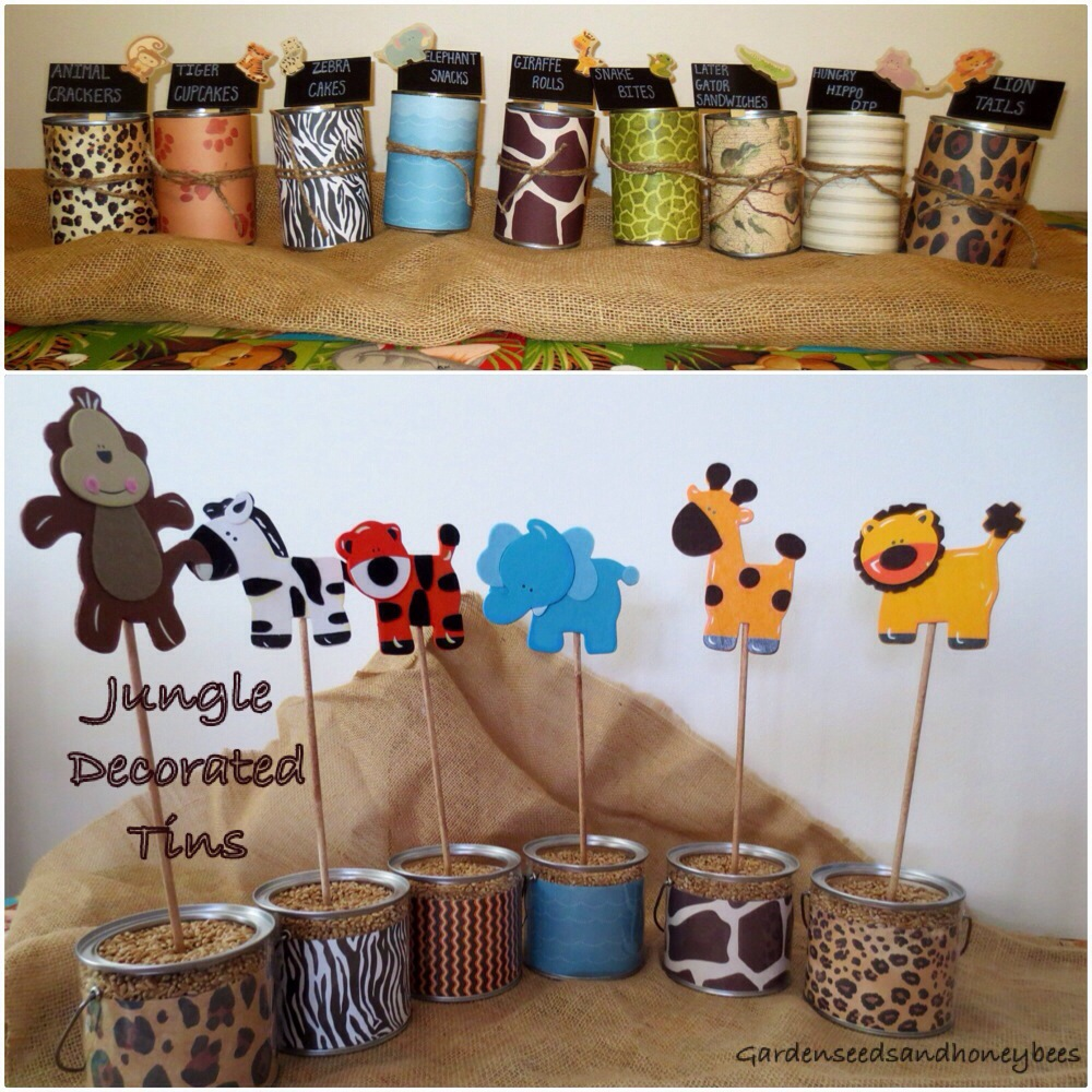 Jungle Baby Shower Decorated Tin Cans Garden Seeds And